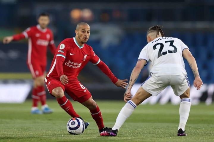 Thiago Alcantara takes on Kalvin Phillips