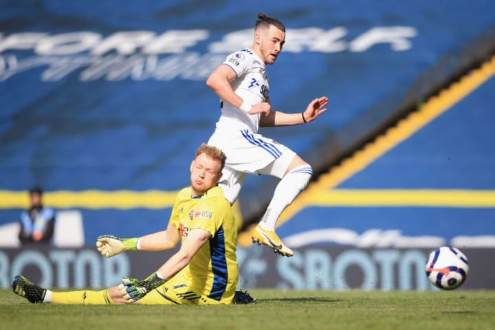 Aaron Ramsdale makes a superb save to deny Jack Harrison