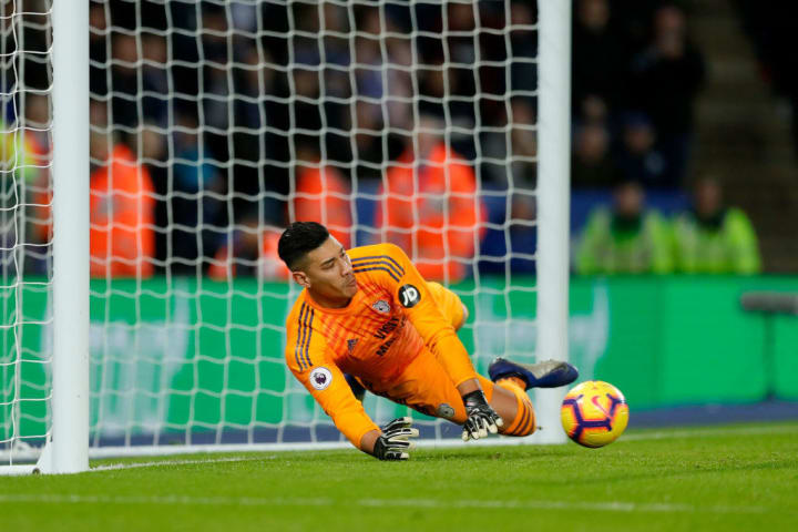 Etheridge saving a penalty against Leicester