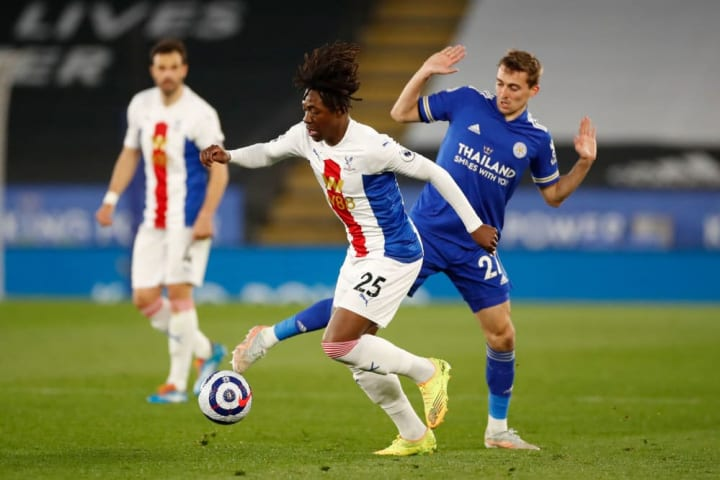 Crystal Palace's Eberechi Eze takes on Leicester's Timothy Castagne