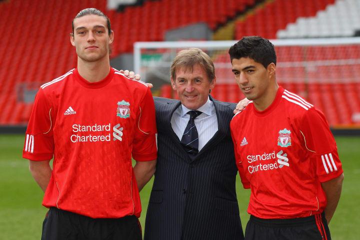 Andy Carroll is unveiled alongside Luis Suarez