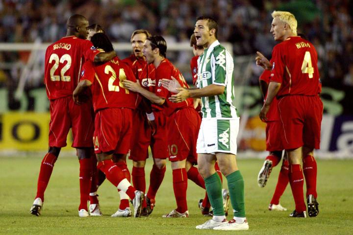 Liverpool players celebrate after Sinama