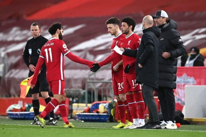 Mohamed Salah, Diogo Jota, Alex Oxlade-Chamberlain, Jurgen Klopp