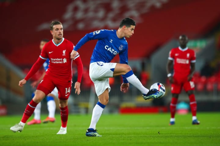James Rodriguez playing in Everton's win over Liverpool
