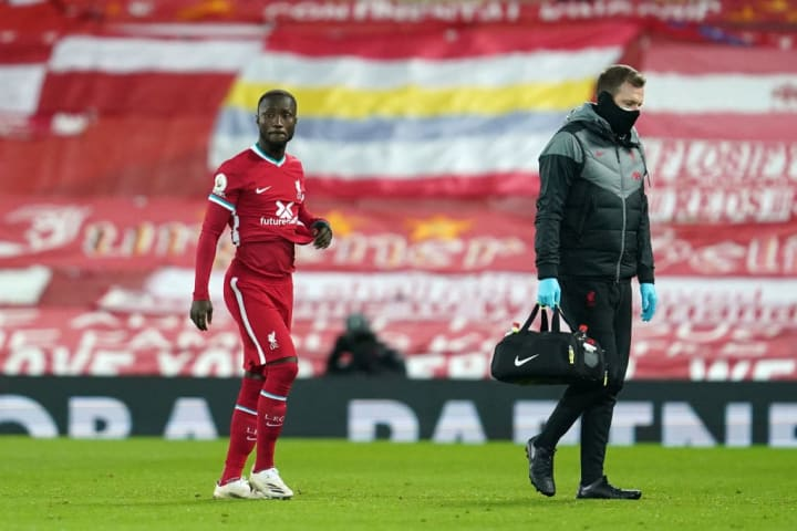 Naby Keita was forced off against Leicester with an injury