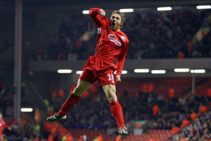 Liverpool's Stephen Warnock celebrates s