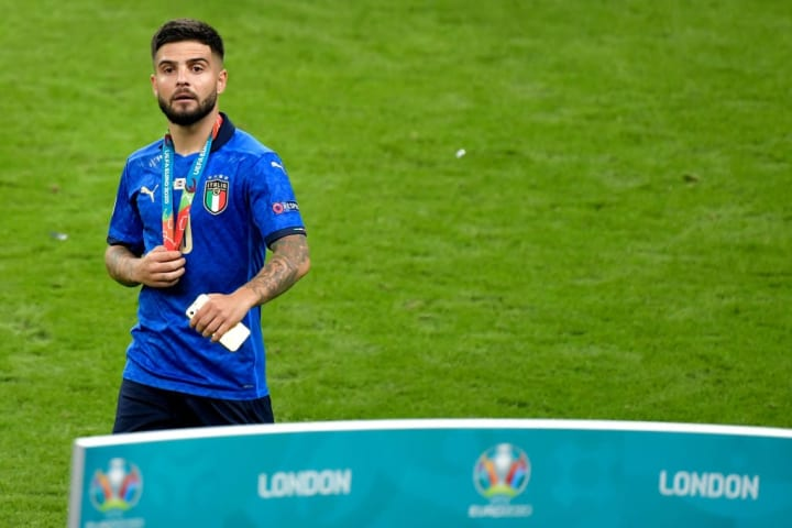 Lorenzo Insigne of Italy looks on during the celebration of...