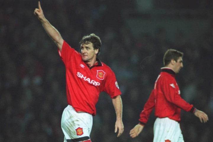 Hughes celebrating a goal for Manchester United