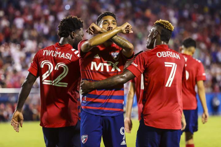 Jesus Ferreira celebrates with his teammates after scoring against Austin