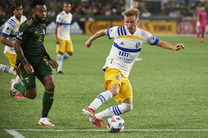 San Jose Earthquakes midfielder Jackson Yueill on the ball against Portland Timbers