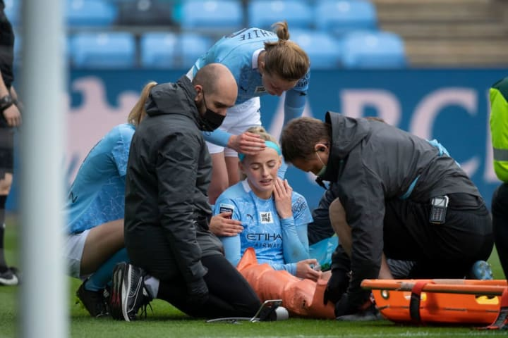 Chloe Kelly scored twice for Man City before being stretchered off