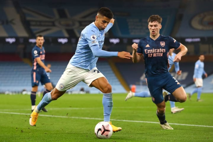 João Cancelo in action against Arsenal