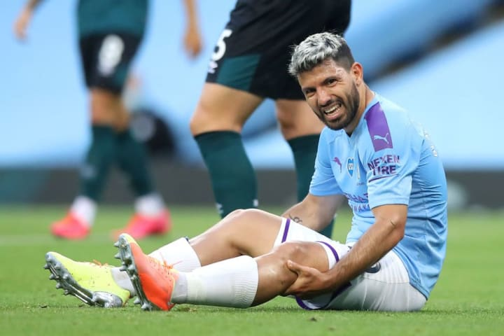 Sergio Aguero went off with a knee injury against Burnley