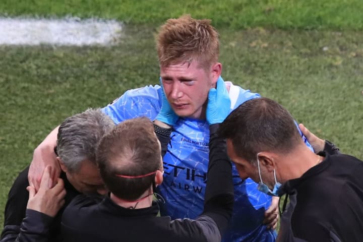 Kevin De Bruyne picked up a nasty injury in the Champions League final