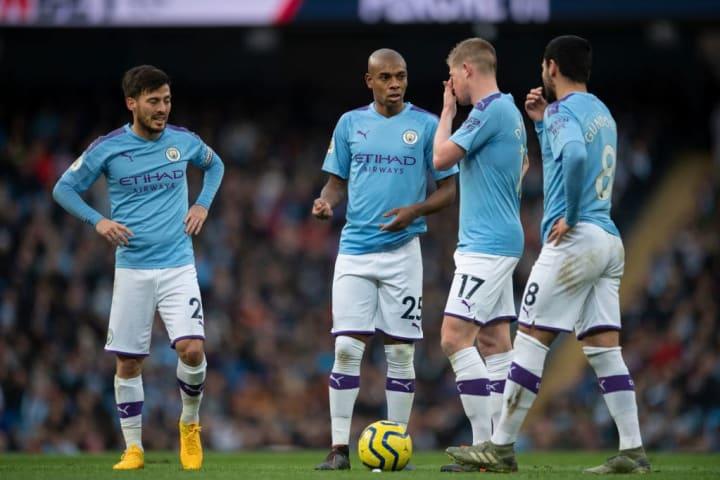 Fernandinho - Soccer Player - Manchester City, Kevin De Bruyne, David Silva - Spanish Soccer Midfielder - Born 1986, ?lkay Gündo?an