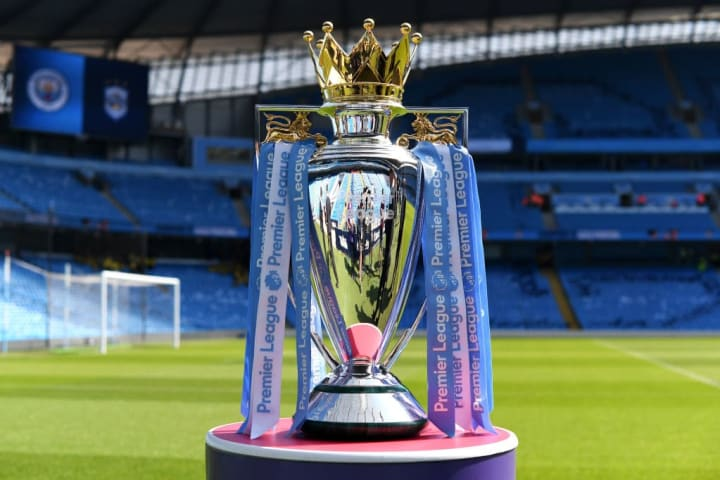 The Premier League trophy that Liverpool will lift in July