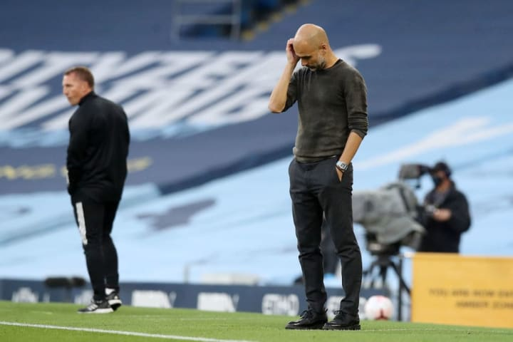 Guardiola had a terrible day at the office against Brendan Rodgers' Foxes