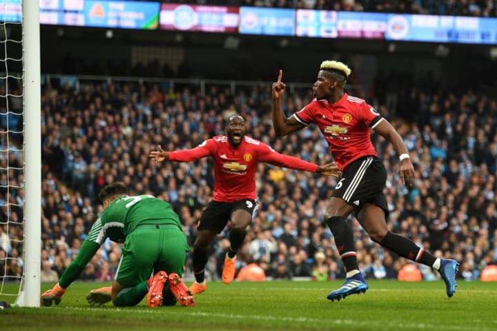Paul Pogba scored twice in the opening ten minutes of the second half to bring Manchester United level in the derby