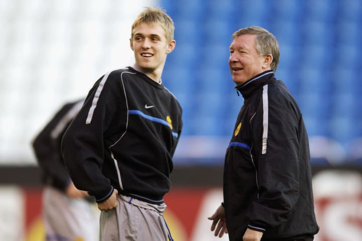 A young Fletcher with Sir Alex Ferguson