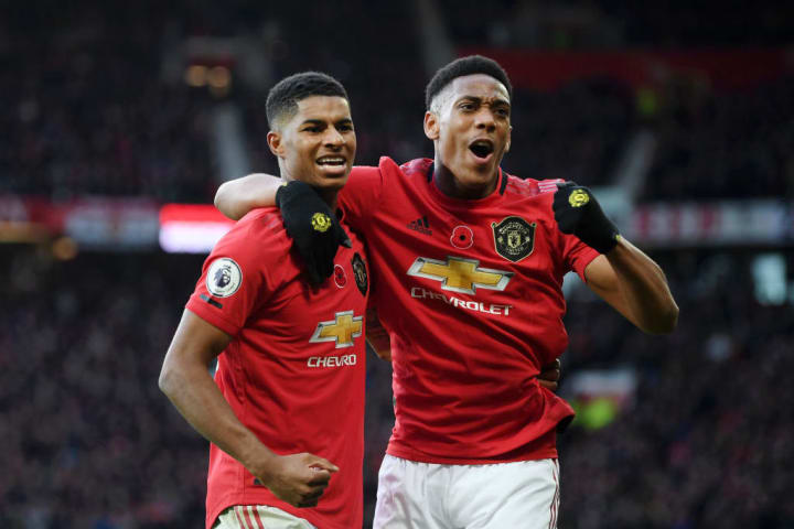 Marcus Rashford and Anthony Martial celebrating