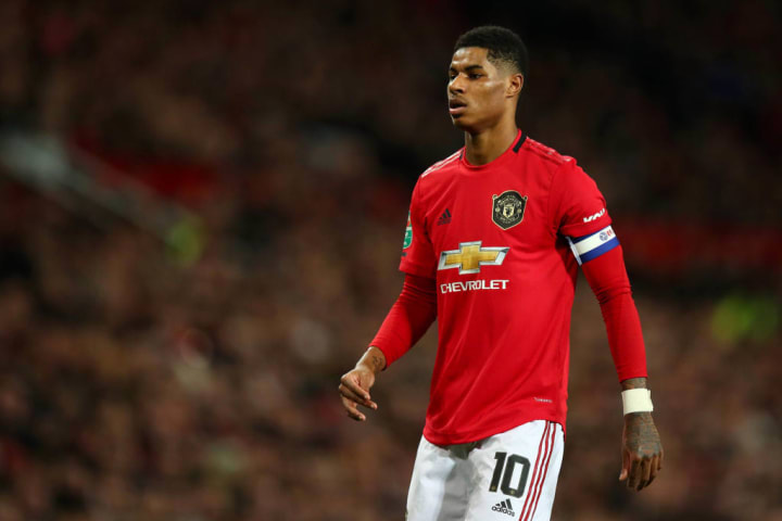 Marcus Rashford has scored four goals in eight games against Manchester City.