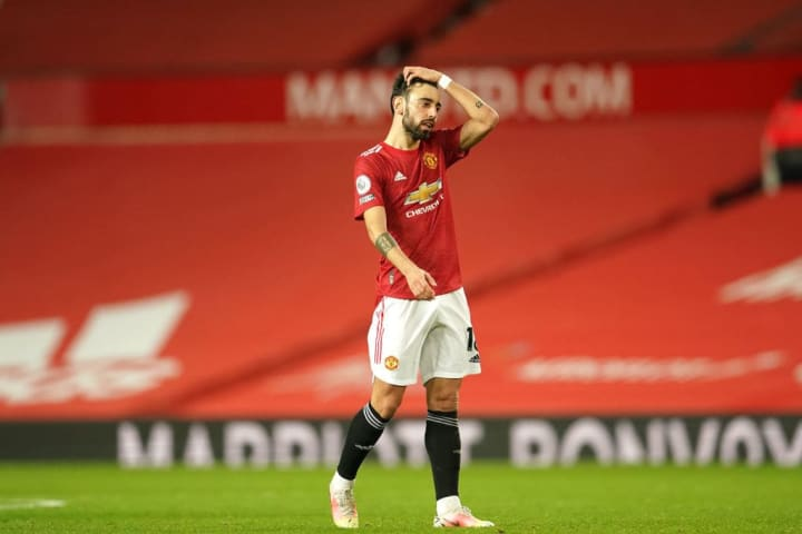Manchester United's Bruno Fernandes found himself shackled by the West Ham midfield for much of the game