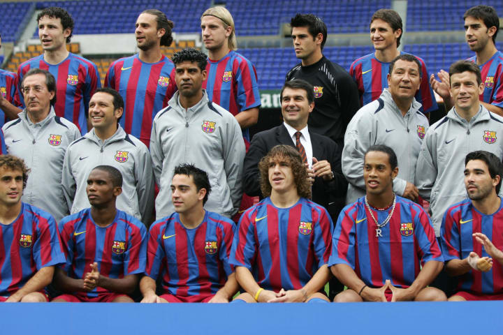 Members of the Barcelona squad, (Top L-R