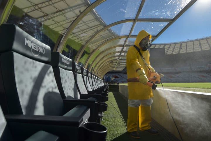 Mineirao Stadium Disinfection Prior to the Sunday Soccer Match Amidst the Coronavirus (COVID-19) Pandemic