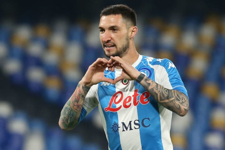 Napoli's Italian forward Matteo Politano celebrates after...