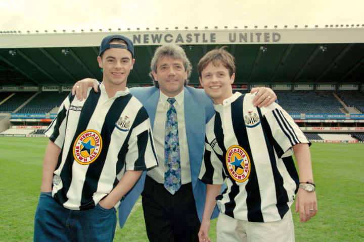 Geordie icons Ant and Dec at the Newcastle kit launch with Kevin Keegan in 1995