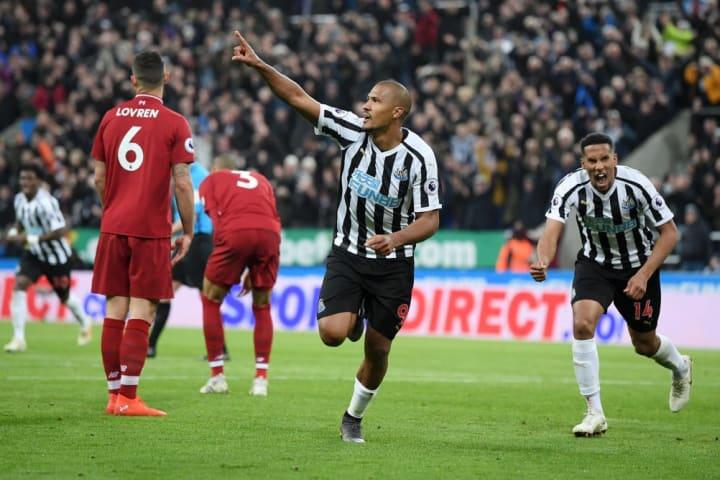 Rondon celebrates a goal against Liverpool
