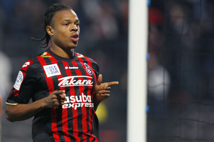 Nice's forward Loic Remy celebrates afte
