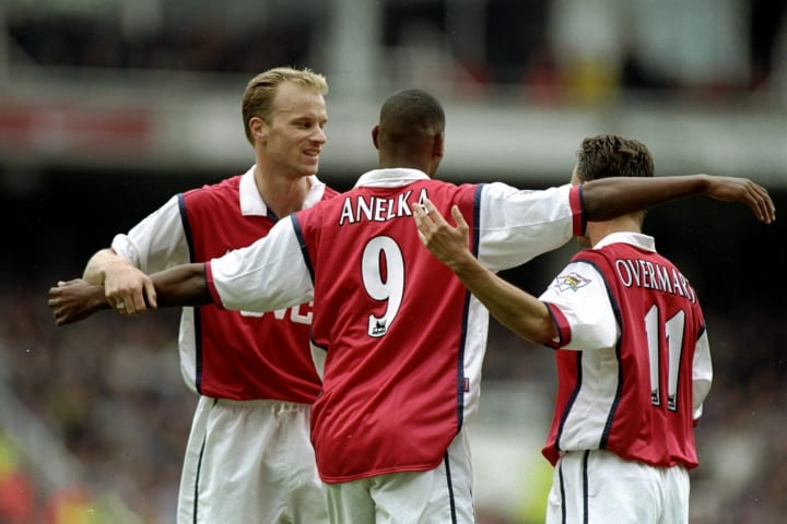 Dennis Bergkamp (left) and Nicola Anelka (centre) only had two complete seasons together at Arsenal