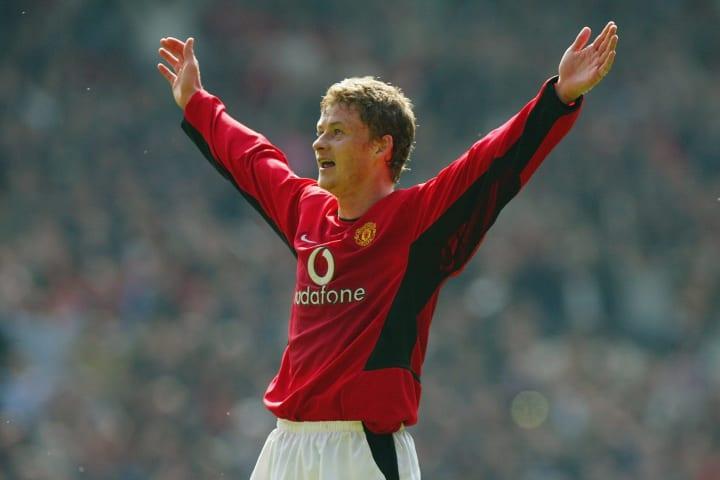 Ole Gunnar Solskjaer of Manchester United celebrates scoring the fourth goal