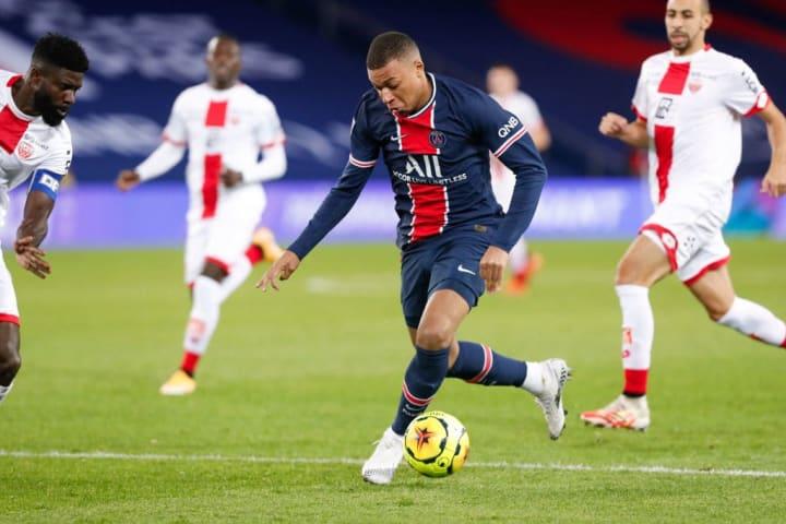 Mbappé in action for PSG against Dijon