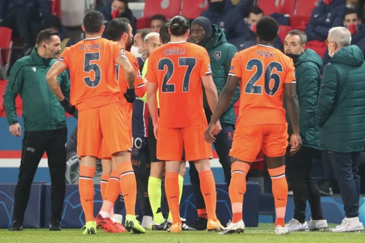 Basaksehir players refused to carry on after the fourth official was accused of racially abusing assistant coach Pierre Webo