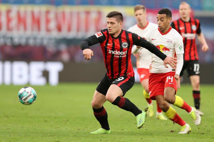 Tyler Adams up against Frankfurt's Luka Jovic