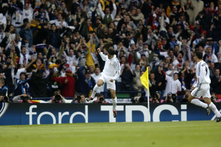 Raul opened the scoring in the 2002 final against Bayer Leverkusen