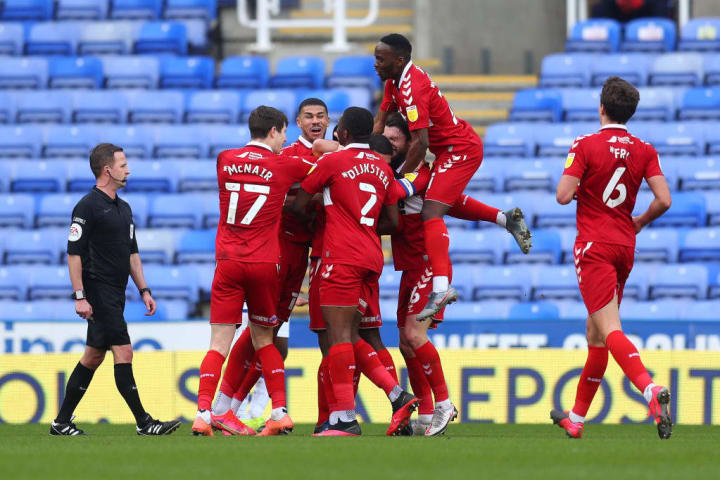 Middlesbrough celebrate their impressive win at Reading
