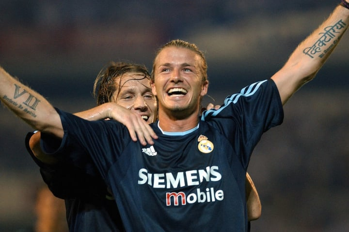 Real Madrid Briton David Beckham (R) cel