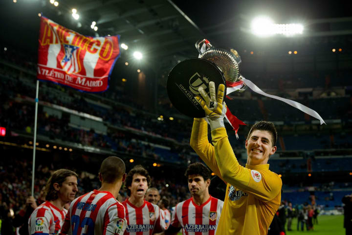 Thibaut Courtois (right) was seven the last time Atletico had beaten Real Madrid going into the 2013 Copa del Rey final