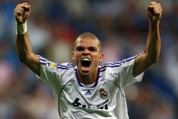 Real Madrid's Brazilian Pepe celebrates