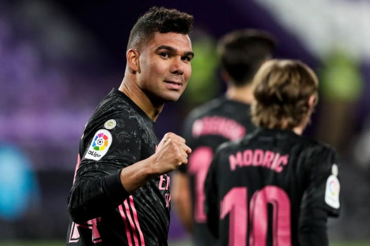 Casemiro celebrating his strike against Real Valladolid
