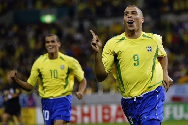 Ronaldo of Brazil celebrates scoring the winning goal