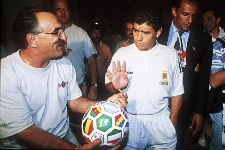 Maradona after failing drug test