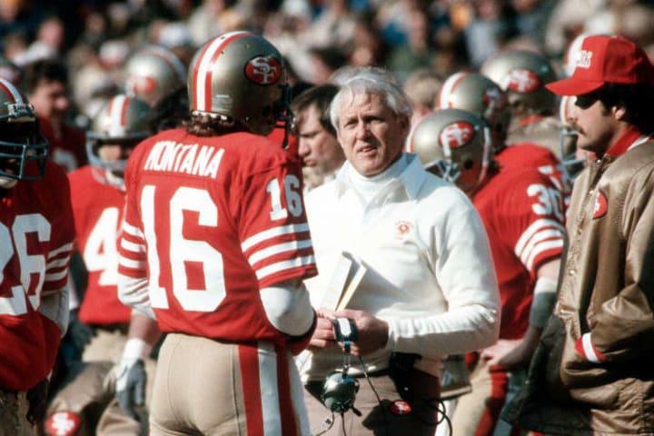Former 49ers head coach Bill Walsh with former quarterback Joe Montana.