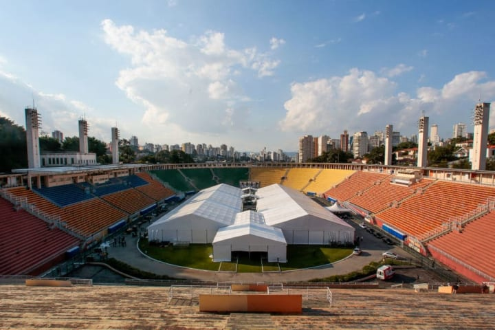 Sao Paulo State Governor Joao Doria Visits the Pacaembu Field Hospital Being Build Due to the  Coronavirus (COVID - 19) Pandemic