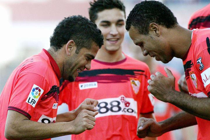 Sevilla's Brazilian Luis Fabiano (R) cel