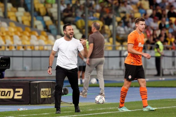 Shahtar Donetsk head coach Roberto De Zerbi reacts during...