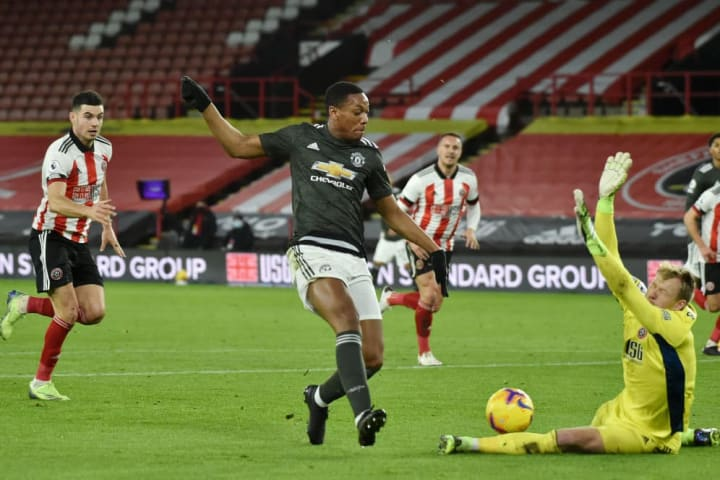 Martial stood at the end of a Paul Pogba pass to score his goal against Sheffield United